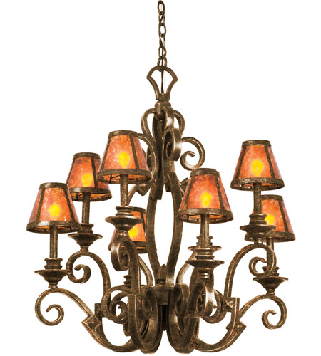 Kalco 4261ac S205 Ibiza 8 Light 30 Inch Tortoise Shell Chandelier Ceiling In Antique Copper Without Glass Mica
