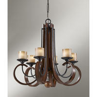 Feiss Madera 6 Light Chandelier In Antique Forged Iron And Aged Walnut F2590 6af
