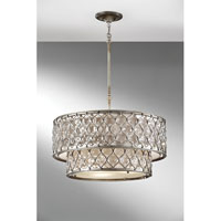Feiss F2707 6bus Lucia 6 Light 25 Inch Burnished Silver Chandelier Ceiling In Standard