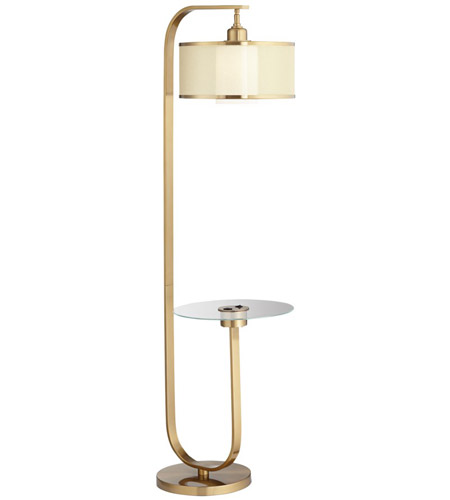 pacific coast 79r05 haverford 63 inch 100 00 watt warm gold floor lamp portable light with tray and usb port