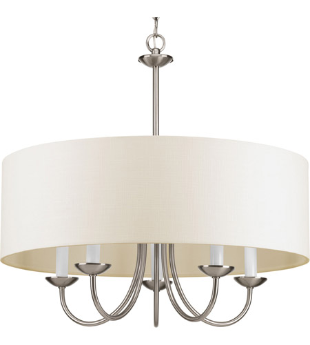 Progress P4217 09 Drum Shade 5 Light 22 Inch Brushed Nickel Chandelier Ceiling