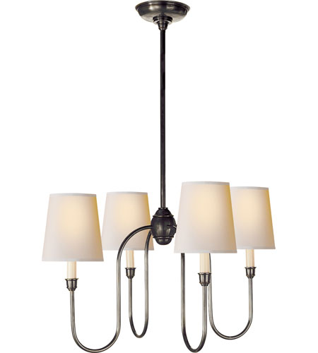 Visual Comfort Tob5007bz Np Thomas Obrien Vendome 4 Light 26 Inch Bronze Chandelier Ceiling In Natural Paper