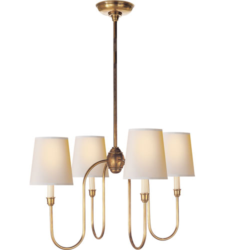 Visual Comfort Tob5007hab Np Thomas Obrien Vendome 4 Light 26 Inch Hand Rubbed Antique Brass Chandelier Ceiling In Natural Paper