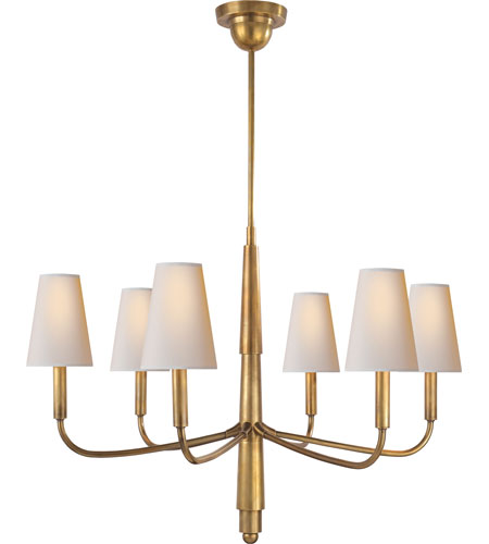 Visual Comfort Tob5018hab Np Thomas Obrien Farlane 6 Light 34 Inch Hand Rubbed Antique Brass Chandelier Ceiling In None Natural Paper