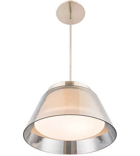chic led 15 inch brushed nickel pendant ceiling light in 15in dweled