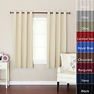"""Best Home Fashion Beige Grommet Top Thermal Insulated Blackout Curtain 52"""" W X 63"""" L 1 Pair - GT"""