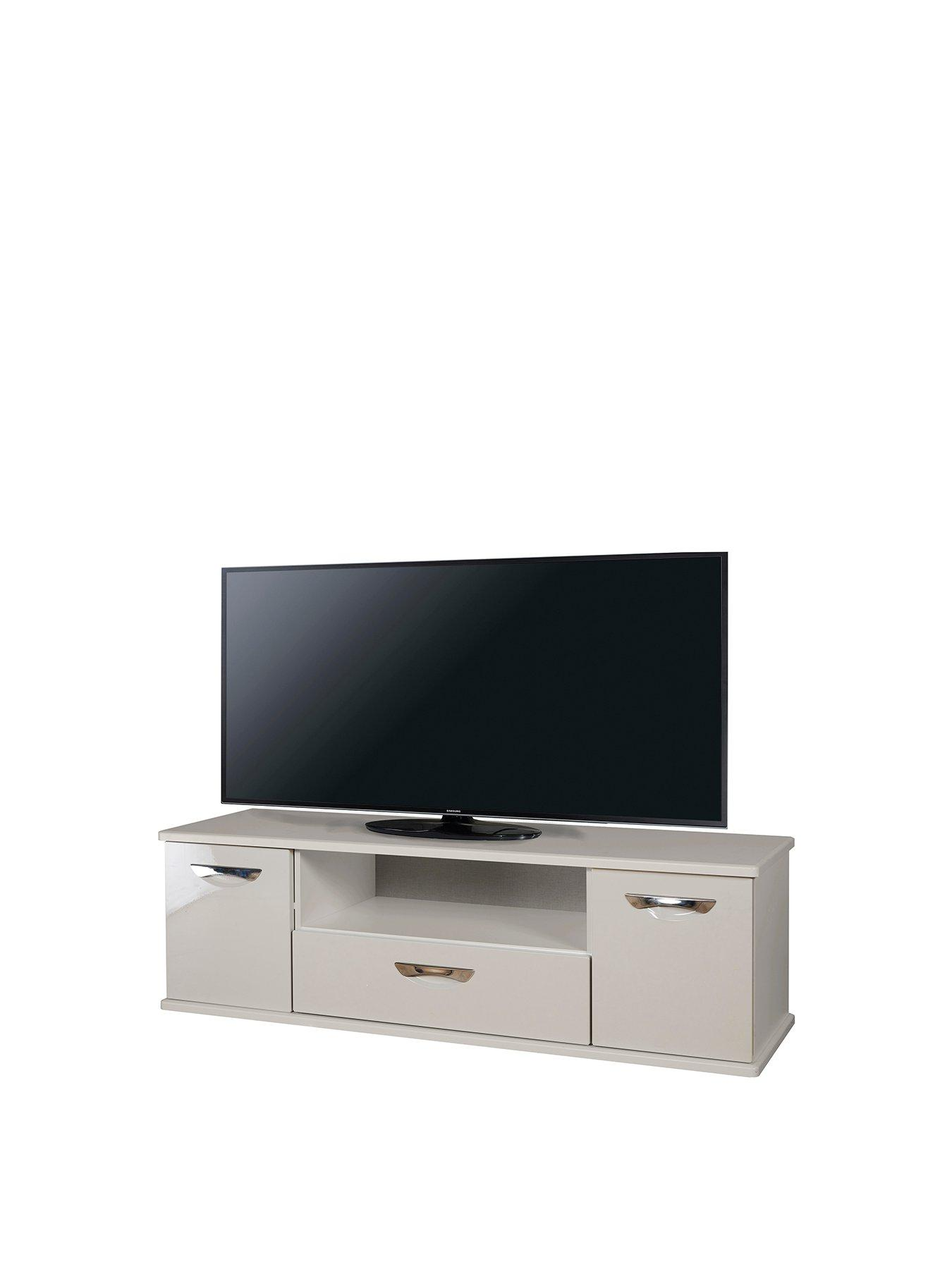 Grey 2 Drawer Home Source Corner Tv Stand Open Shelf Oak Top Metal Handles Runners Home Kitchen Living Room Furniture
