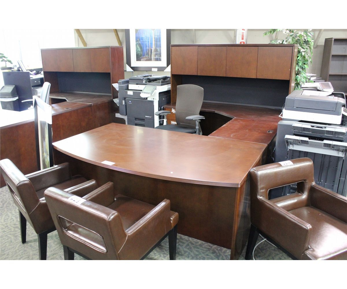 CHERRY BOW FRONT U SHAPE EXECUTIVE DESK CW HUTCH