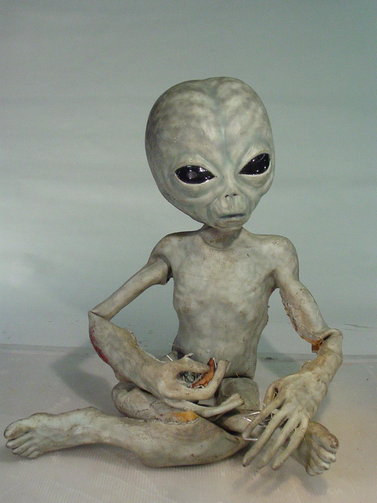 X Files Screen Used Life Size Foam Grey Alien With Wire Frame