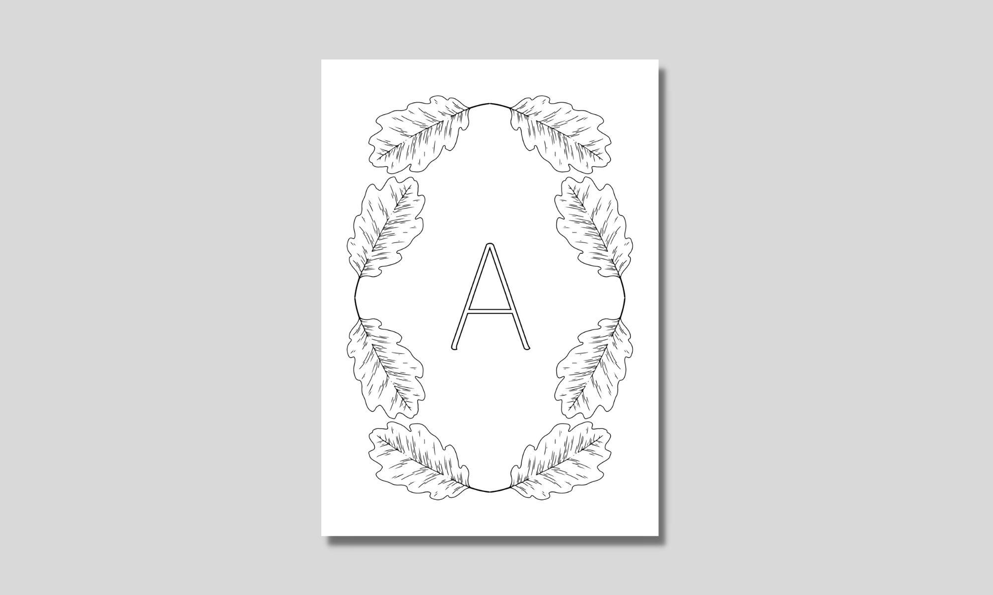 alfabet med ram av eklöv