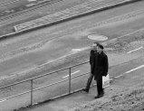 dirty records promenad, svartvitt