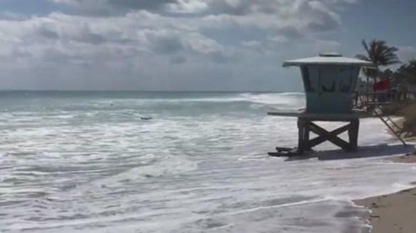 Strong waves hit South Florida shoreline