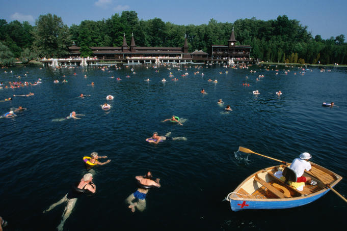Bathers swimming in Gyogy-to (thermal lake) of Heviz