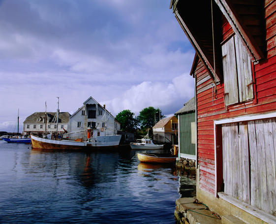 Trawler and boats in harbour, Glesvaer, Sotra district.