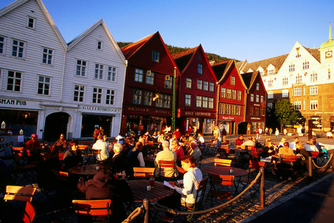 Beer garden outside timber merchants' houses, Bryggen.
