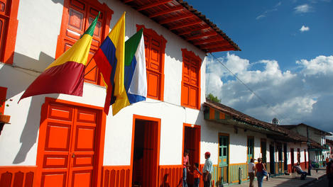 Brightly-painted homes in Salento region.
