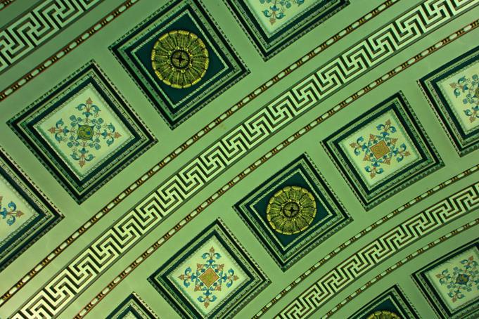Ornate art work on the ceiling of St Nicolas of Myra Church in Dublin