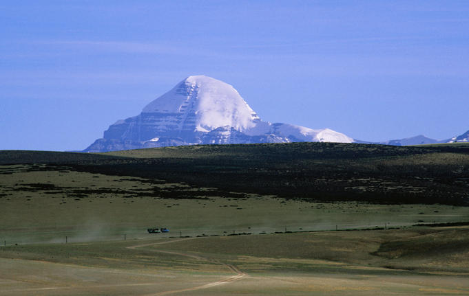 Mt Kailash looming over the Barkha plains, Ngari region.