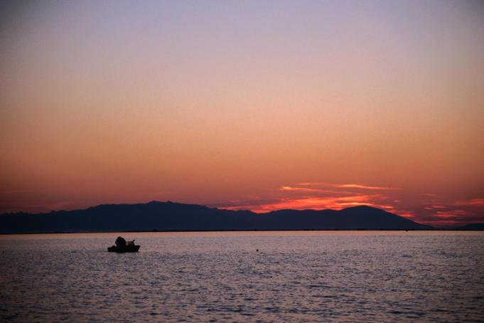 Sunrise breaks over Lake Baikal.