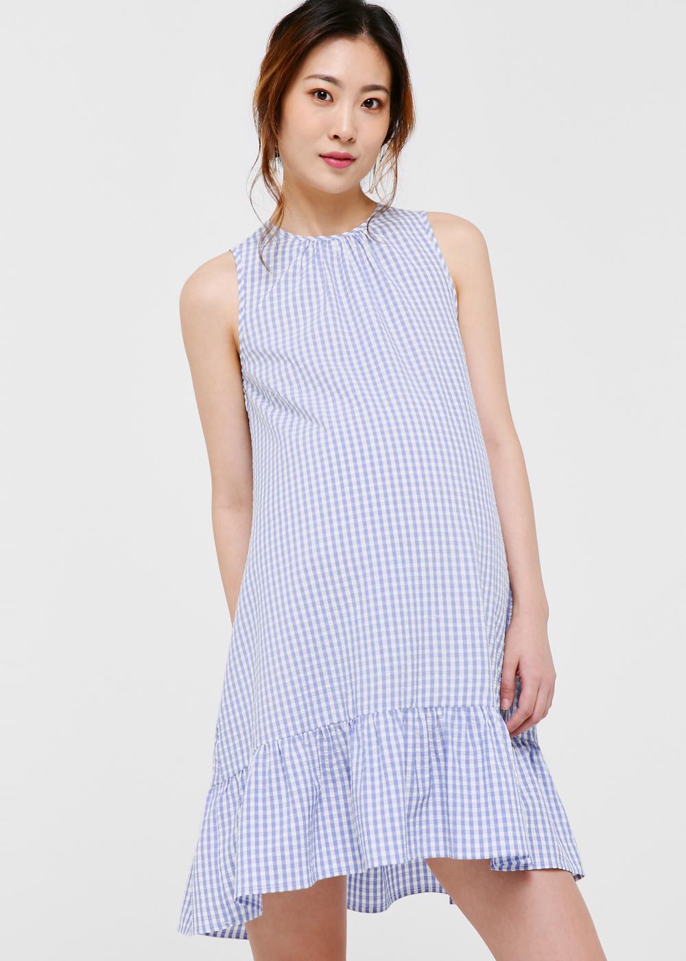 Brenna Ruffle Hem Gingham Dress