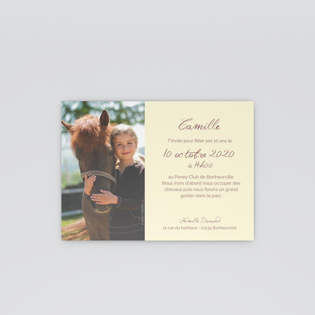 carte invitation anniversaire petit poney