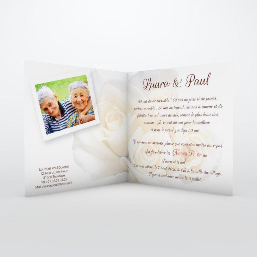 carte invitation anniversaire de mariage roses noce d or