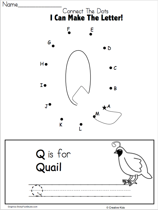 Letter Q Writing Worksheet And Dot To