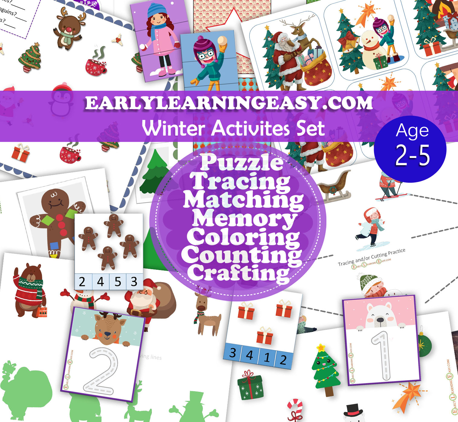 Winter Activities Set For Toddlers Pre K Age 2 5