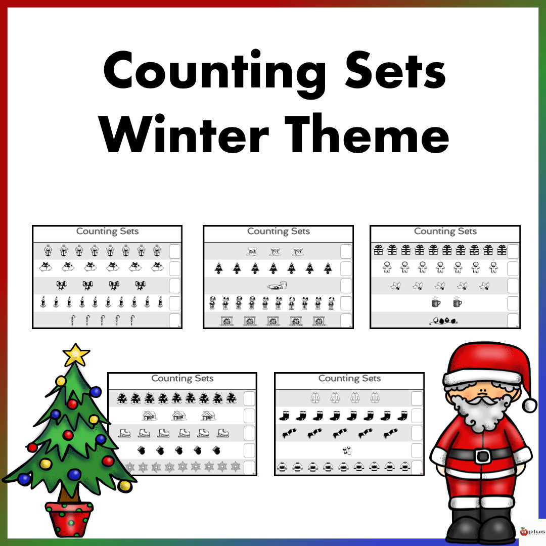 Counting Sets Practice Sheets Winter Theme