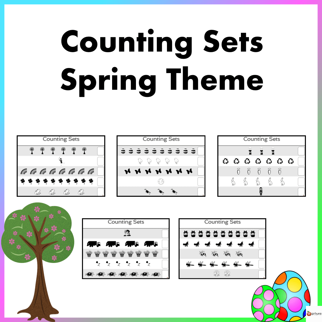 Counting Sets Practice Sheets Spring Theme
