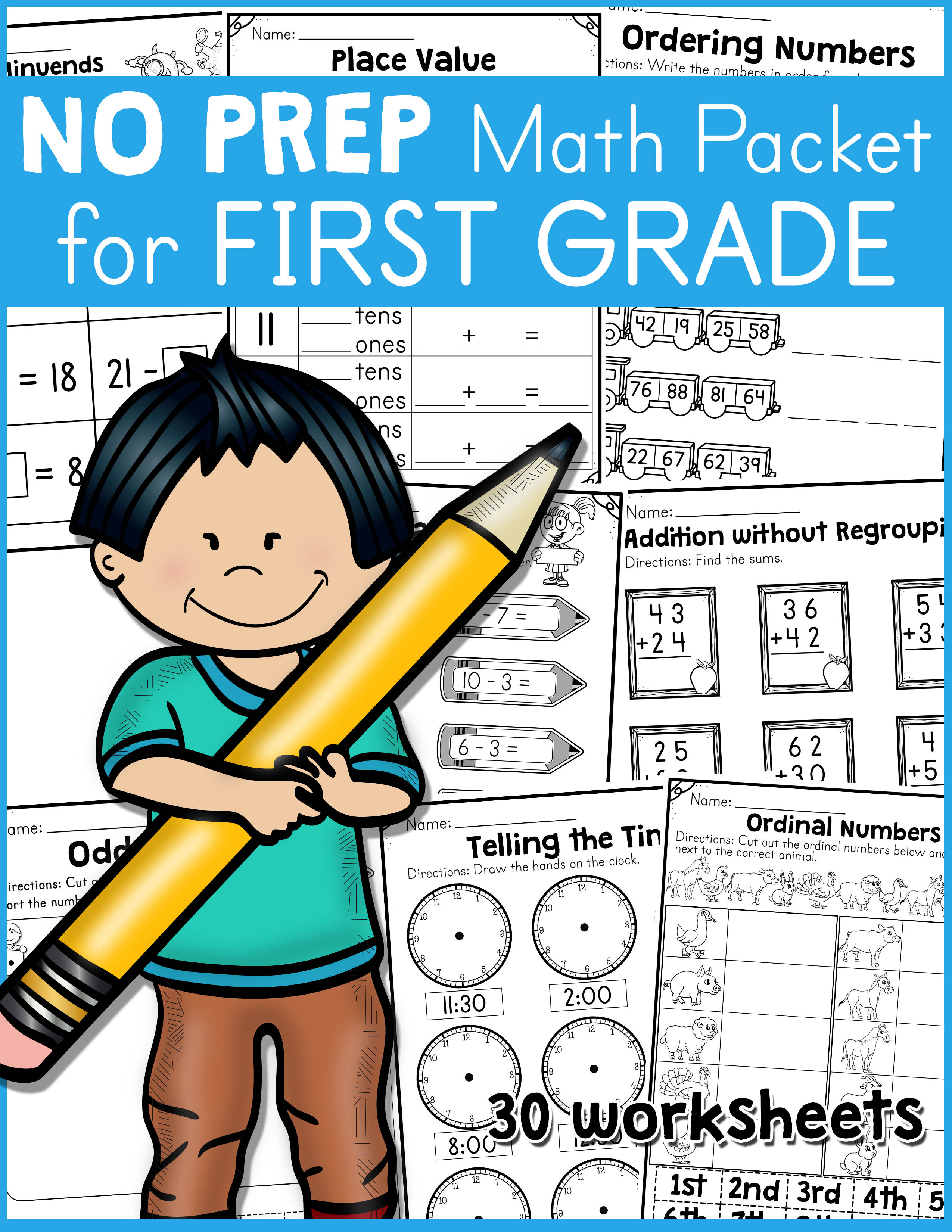 No Prep Math Packet For First Grade