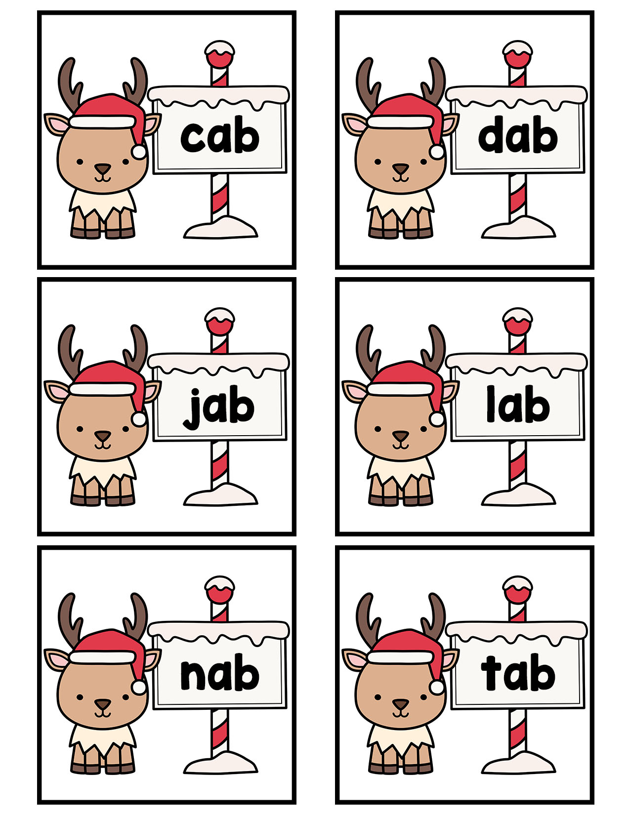 Reindeer Cvc Flash Cards