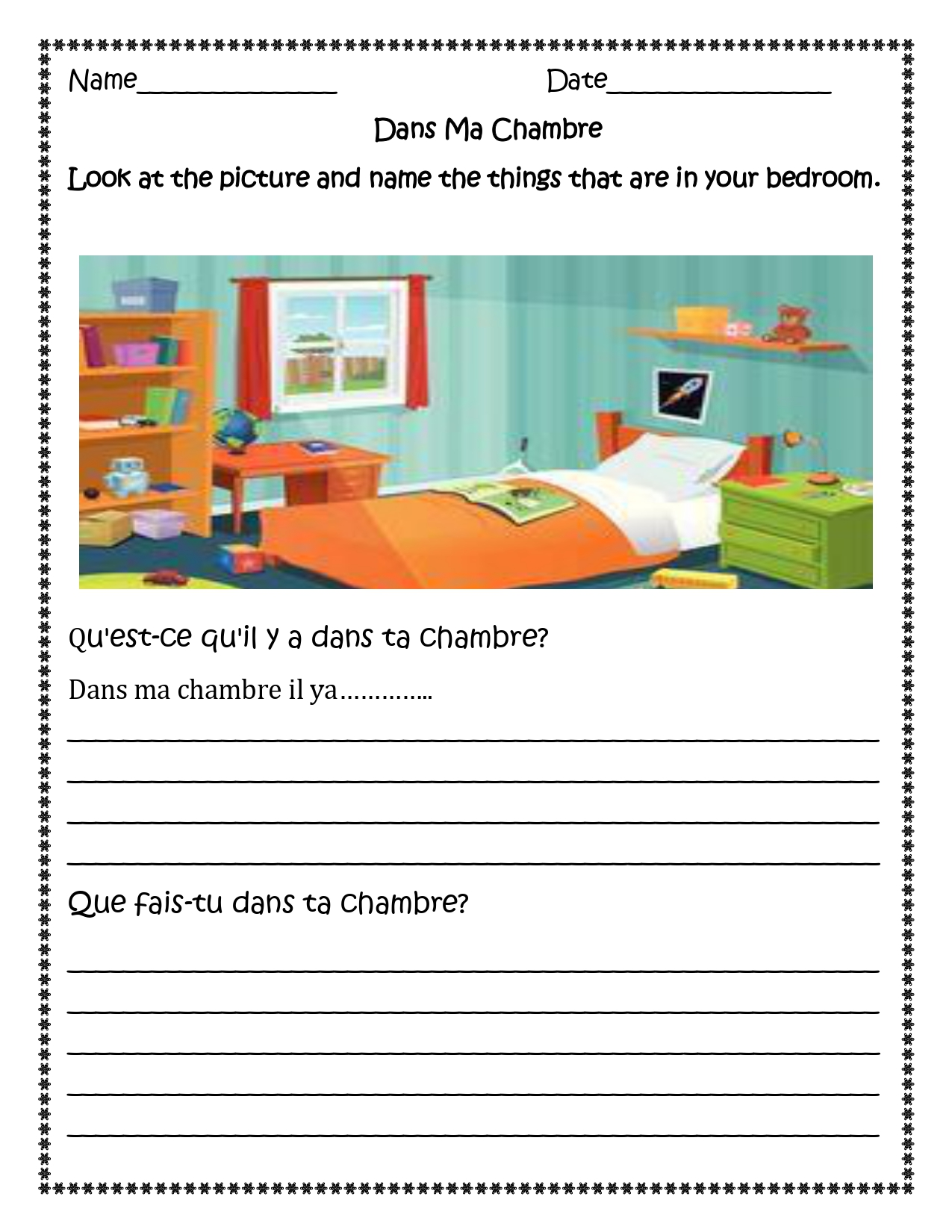Dans La Chambre French Bedroom Distance Learning
