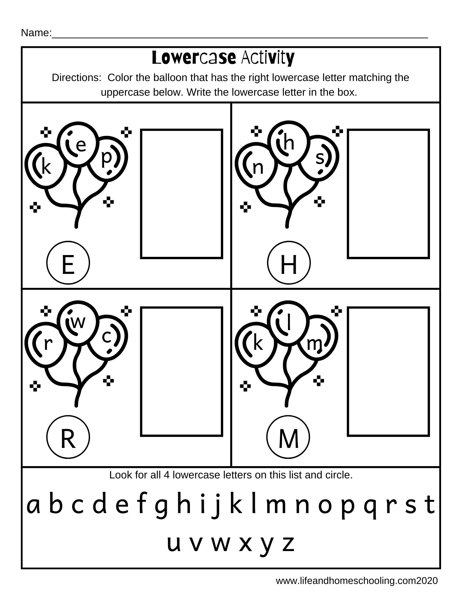 Preschool Kindergarten Lowercase Worksheet