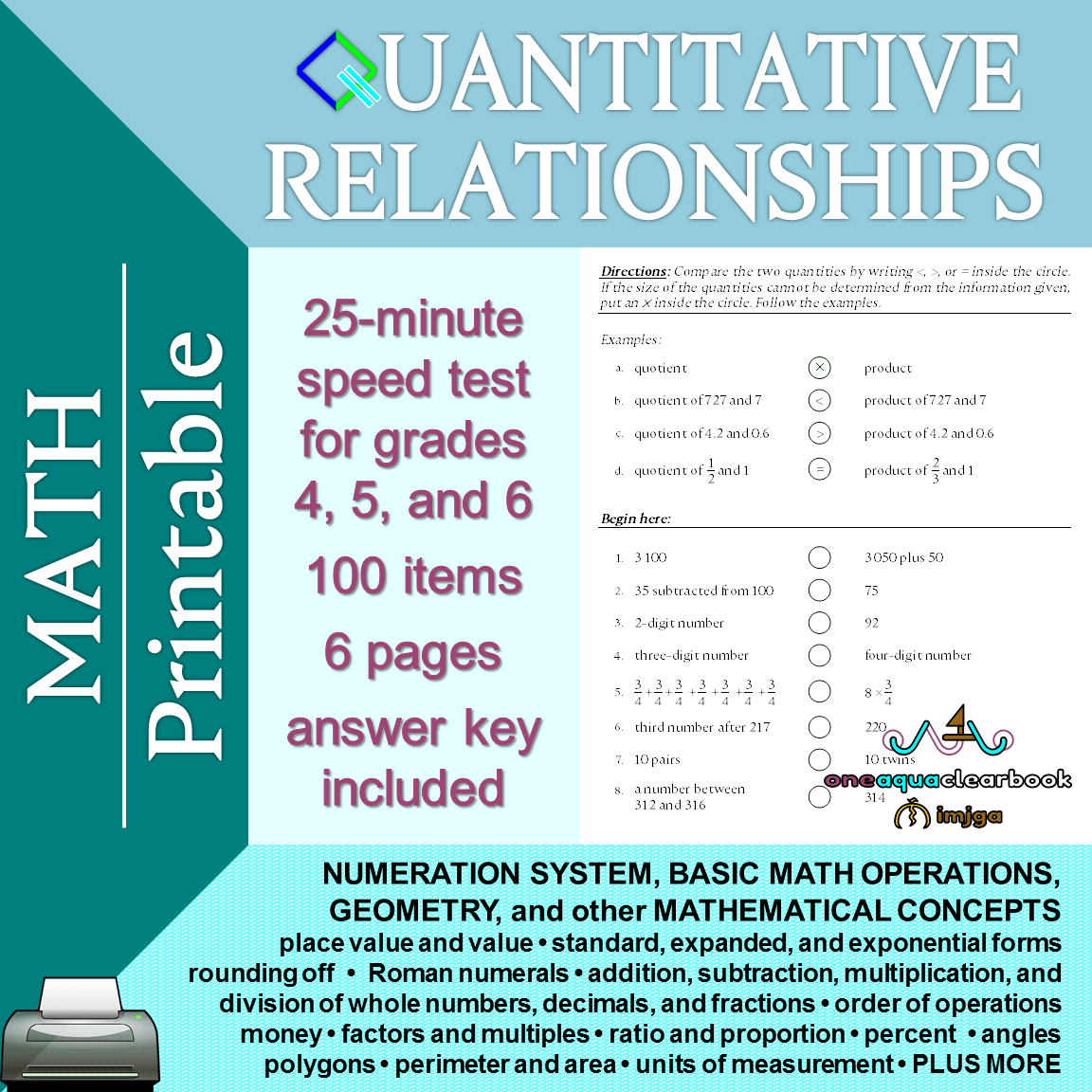 Math Quantitative Relationships In Printable Portable