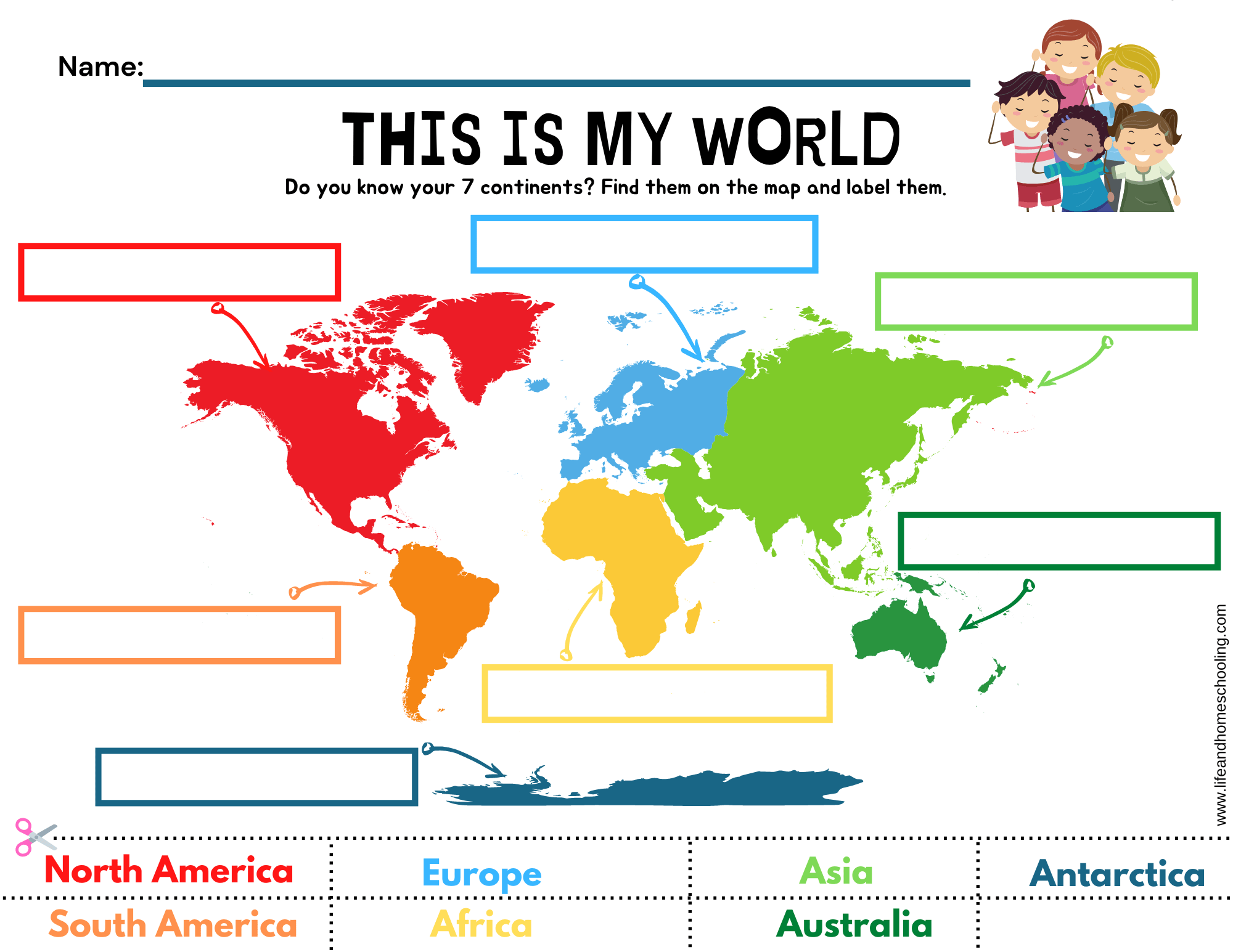 The 7 Continents Printable Activity