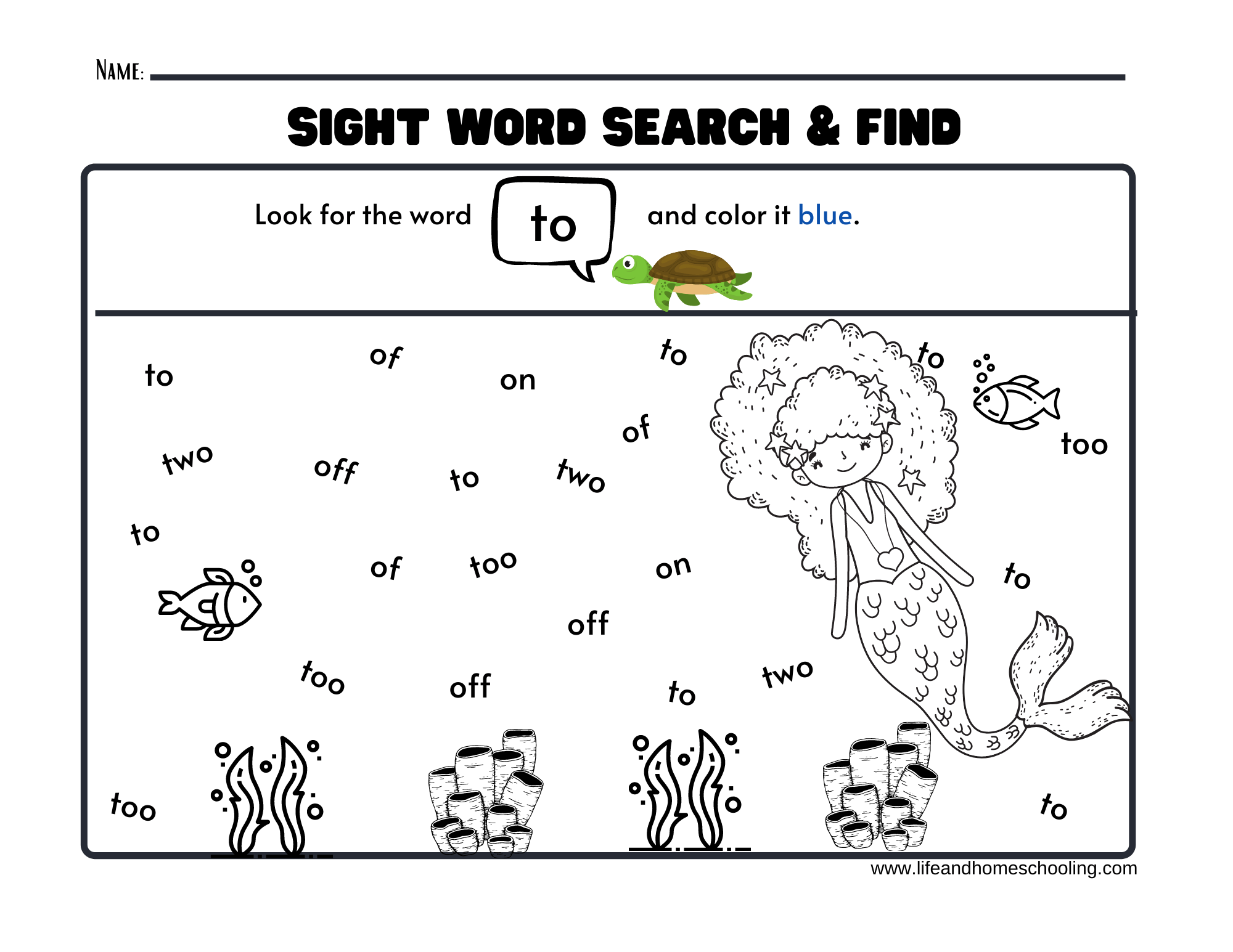 Sight Words Printable Worksheets Mermaid