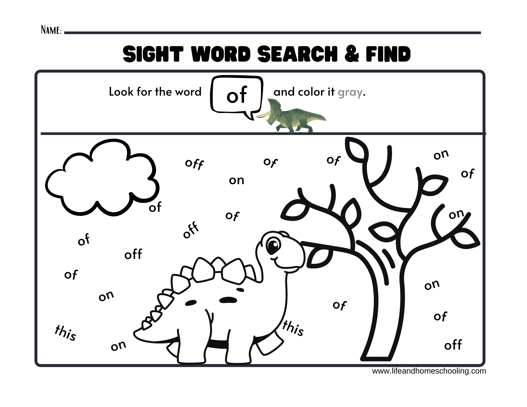 Sight Words Printable Worksheets Dinosaur