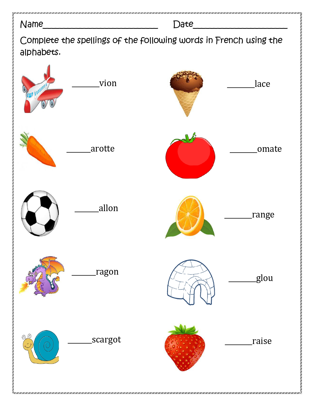 French Alphabet Worksheet For Distance Learning