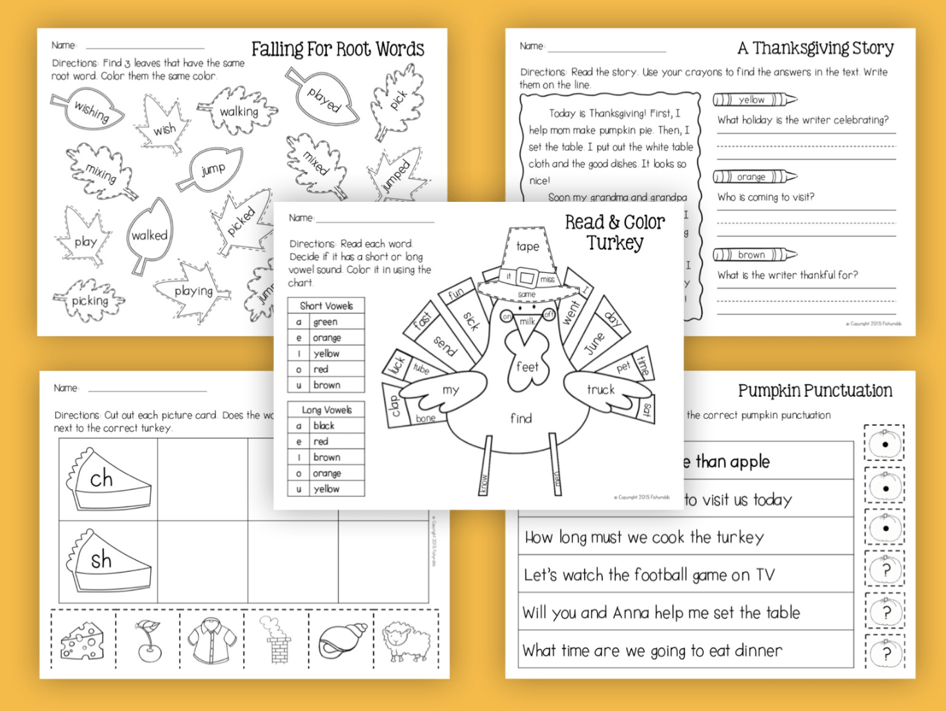 Thanksgiving Reading And Math No Prep Worksheets 1st Grade