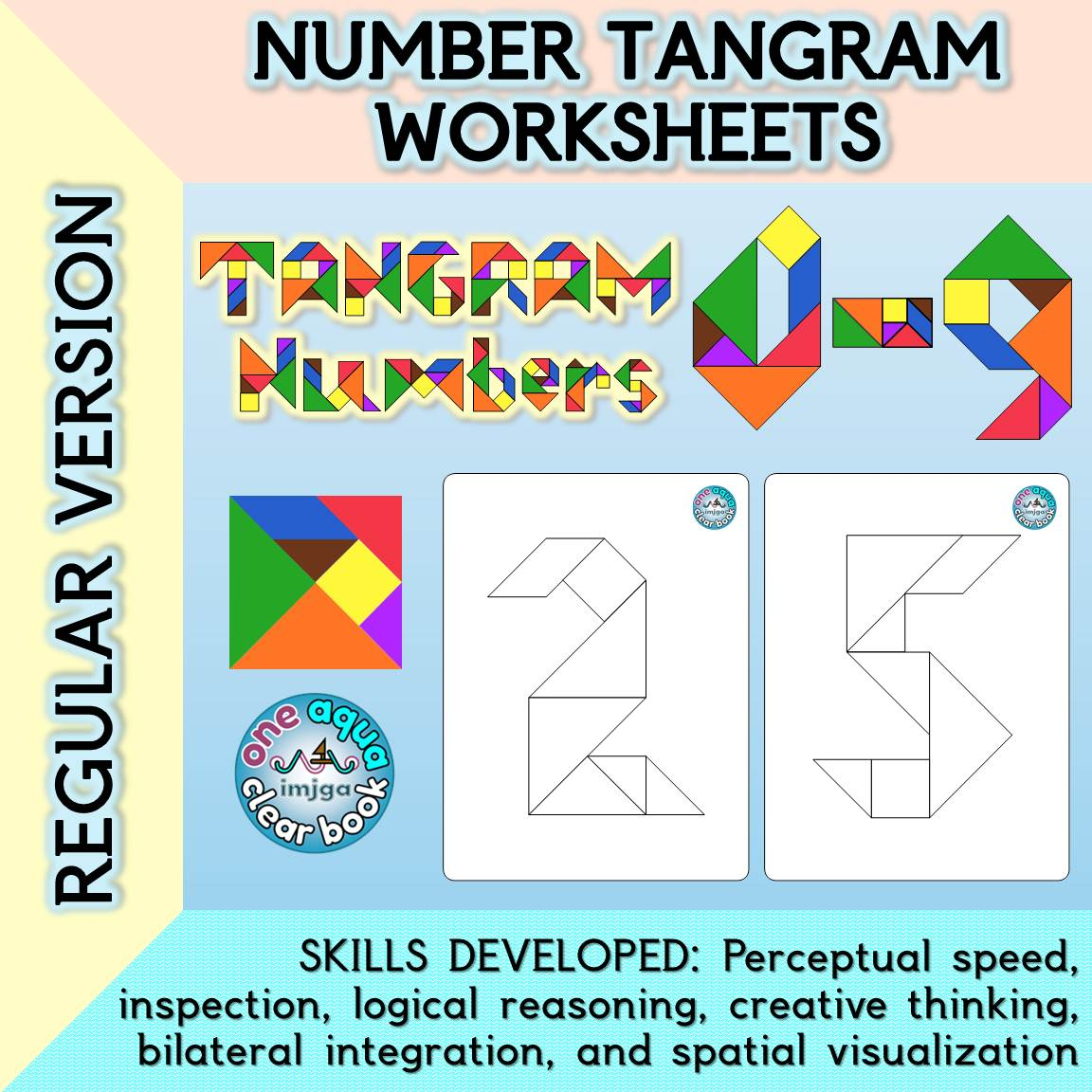 Number Tangram Worksheets Regular Version