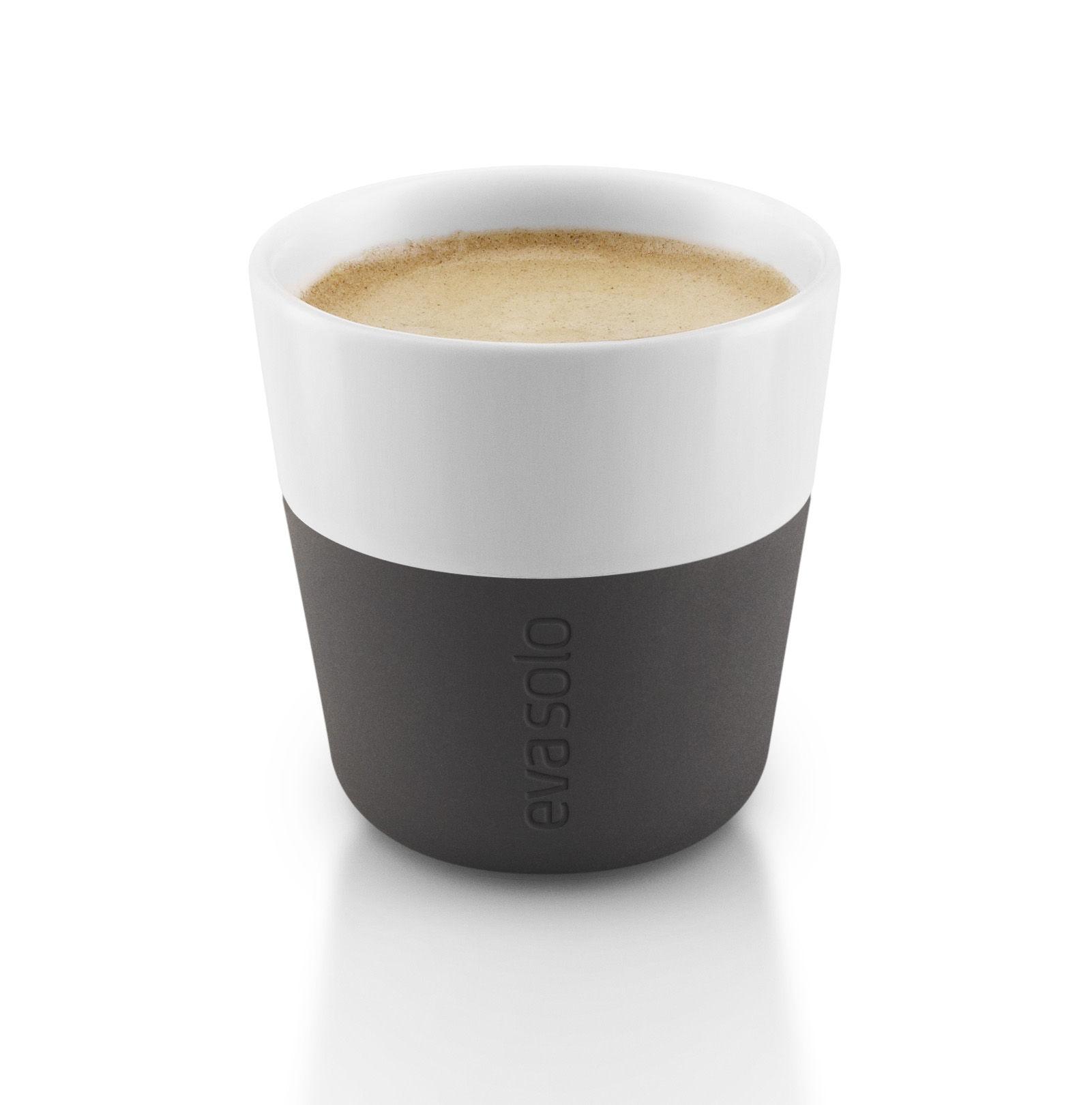 Espresso Cup Set Of 2 80 Ml White Carbon Black Silicone By Eva Solo