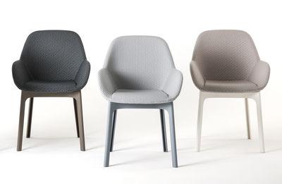 fauteuil rembourre clap tissu pieds plastique kartell