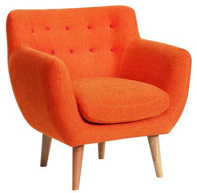 mobilier fauteuils fauteuil rembourre coogee sentou edition rouge mandarine boutons