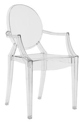 fauteuil empilable louis ghost transparent polycarbonate kartell