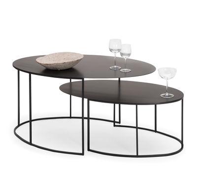 table basse slim irony ovale 70 x 42 h 29 cm zeus
