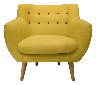 mobilier fauteuils fauteuil rembourre coogee sentou edition jaune citron boutons