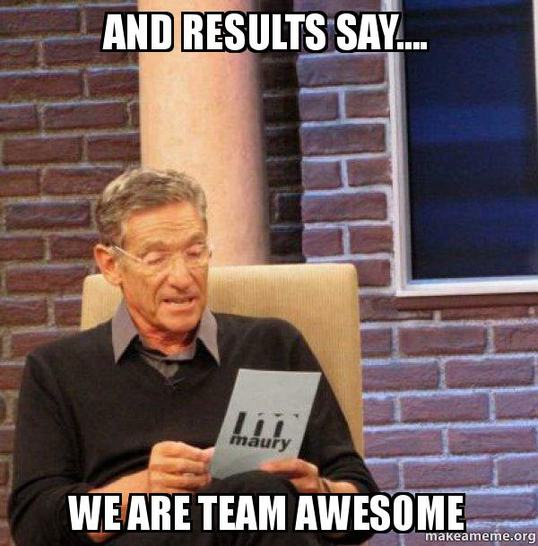 And results say     We are Team Awesome   Maury Povich Lie Detector     Maury Povich Lie Detector Test meme