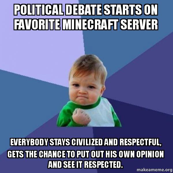 Political Debate Starts On Favorite Minecraft Server