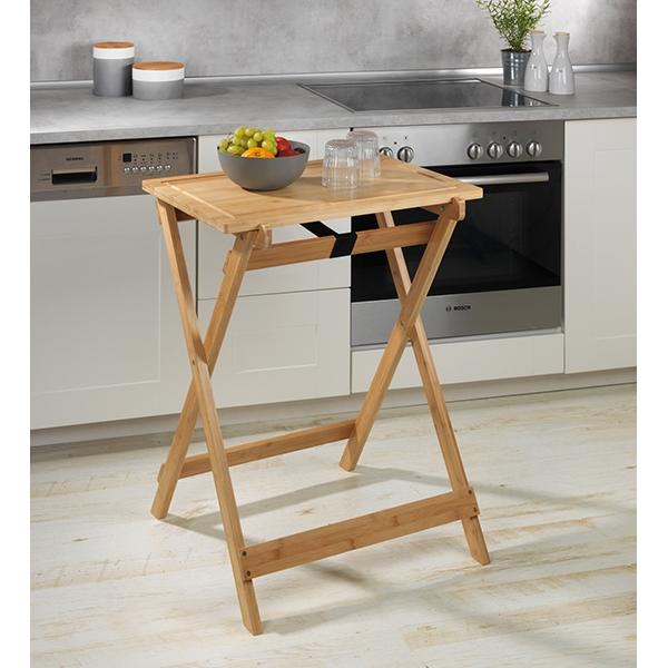 table pliante avec plateau amovible lugo en bambou